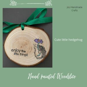 Hand Painted Wood Slice   Hedgehog and Flowers   Handmade Wall Art