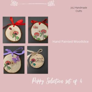 Poppy Flower Painting Wood Slice - Set of 4