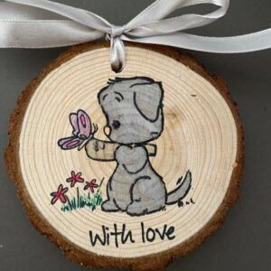 Hand decorated wood slice - with love