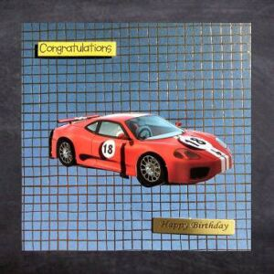 Cottage Cards - Handmade 18th Birthday Card - Red racing car - 3D decoupage