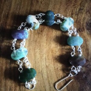 Moss agate and pure (999) silver Bracelet
