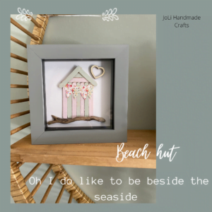 Framed Beach Hut Picture Handmade with Shells