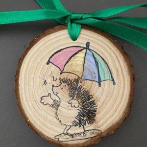Hand Painted Wood Slice | Wall Art | Hedgehog in the rain