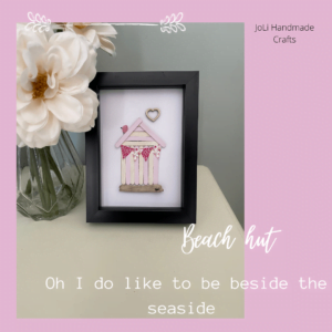 Handmade Framed Beach Hut Picture |Complete with Shells