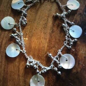Shell and sterling silver ball bracelet