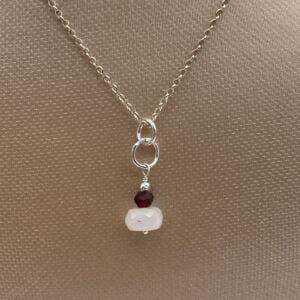20 inch Rainbow Moonstone & Garnet Gemstone 925 Sterling Silver Necklace