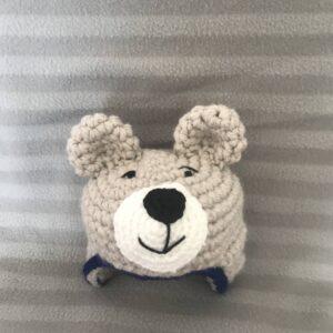 Crochet chunky wool teddy bear hat with ear flaps, size newborn O-3 months