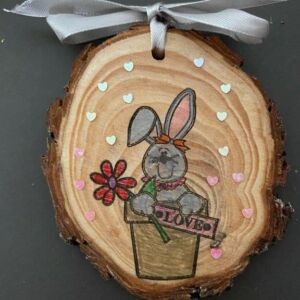 Hand decorated wood slice - Rabbit in plant pot