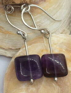 Handmade Amethyst Gemstone Silver Earrings