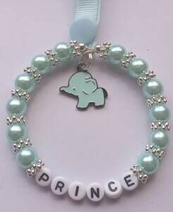 Personalised Handmade Pram Charms - Blue Beads - Elephant Charm