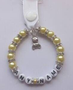 Personalised Handmade Pram Charms - Yellow Beads - Teddy Bear Charm
