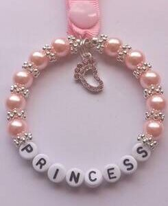 Lovely Pink Beaded Handmade Pram Charms with Pink beads and a beautiful Pink Rhinestone Footprint Charm