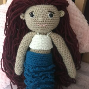 Mermaid crochet doll with removable tail fin and swimming costume