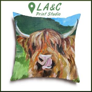 Highland Cow Cushion Angus