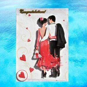 Handmade Wedding/Engagement Card - Beautiful couple - congratulations - 3D decoupage