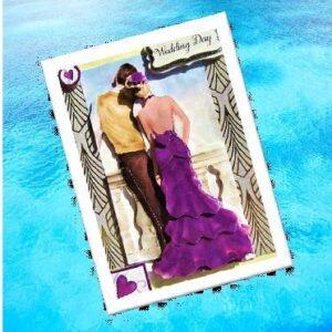 Handmade Wedding Card - Beautiful Couple on a balcony - 3D decoupage