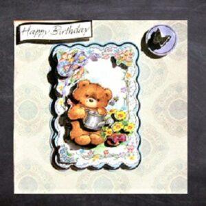 Cottage Cards - Handmade Birthday Card -Teddy bear and flowers - 3D decoupage