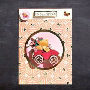 Handmade Birthday Card - Cute teddies in a car - 3D decoupage