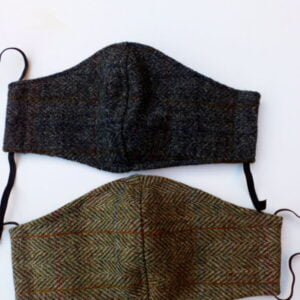 handmade harris tweed face mask with filter pocket, cotton