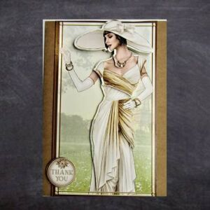 Cottage Cards - Handmade Thank You Card - Art deco lady in white - 3D decoupage on a large Kraft card