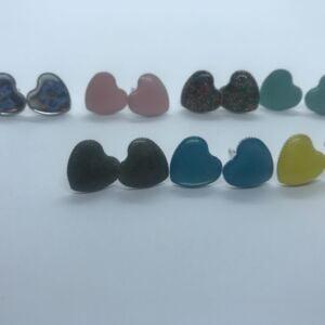 Resin love heart shape stud earrings