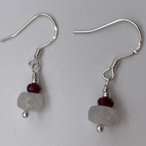 Rainbow Moonstone & Garnet Gemstone 925 Sterling Silver Drop Earrings