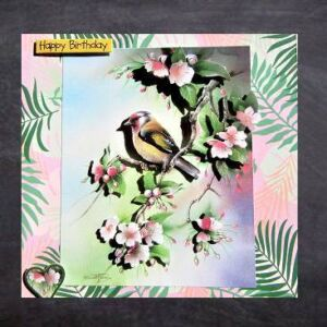 Handmade Birthday Card - Goldfinch on a cherry blossom branch - 3D decoupage