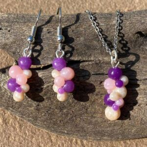 Handmade Pearl and Purple Bubbles Pendant and Earring Set