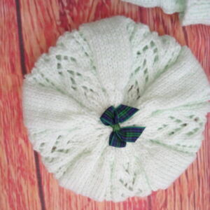 Hand Knitted Beret in Peppermint Green DK Wool for Baby Girl 0-3 Months