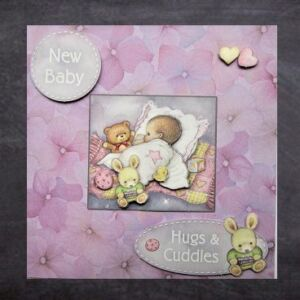 Cottage Cards - Handmade New Baby Card - baby sleeping on a pillow - 3D decoupage
