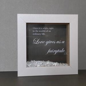 Once in a While Picture in Grey Shadow Box Frame with Diamante Scatter Crystals