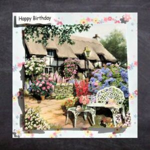 Handmade Birthday Card - Cottage Cards - Patio Garden - 3D decoupage