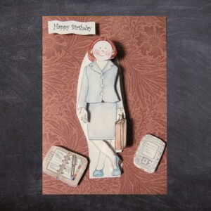 Cottage Cards - Handmade Birthday Card - Professional lady in suit - 3D non-die-cut decoupage