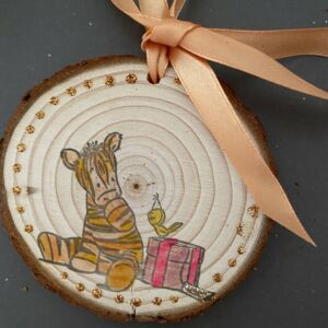 Hand Decorated Wood Slice - Tigger