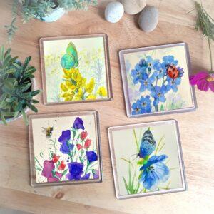 Wildlife Coasters - set of four, designed by Norfolk artist Lisa Mann