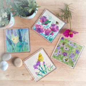 Bees and Butterflies Coasters - set of four, designed by Norfolk artist Lisa Mann