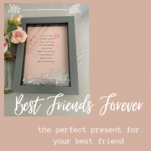 Best Friends Forever Framed Quote |Handmade Bejewelled Picture