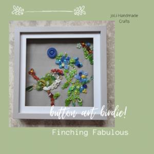 Bird Button Art | Handmade Framed
