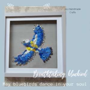 Blue Bird (with Buttons, Gems and Jewels) - Mixed Media Wall Art