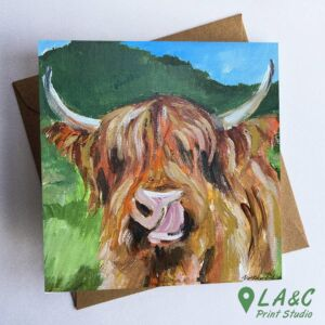 Highland Cow greetings card Angus