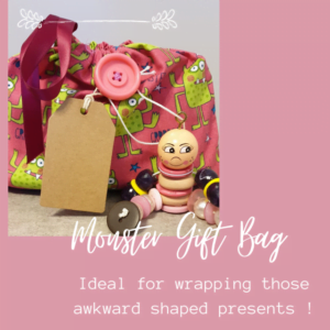 Medium Drawstring Cotton Bag - Pink Monster Print