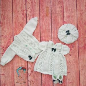 Hand knitted Outfit for Baby Girl Dress, Cardigan, Boots and Beret - 0-3 Months in Peppermint Green