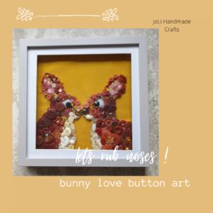 Framed Bunny Print | Handmade Button Art