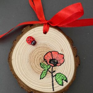 Hand Decorated Wood Slice - Poppies