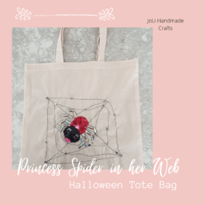 Princess Spider Trick or Treat Bag | Halloween | Handmade Button Craft Tote Bag
