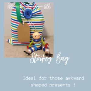 Medium Drawstring Cotton Bag - Striped.