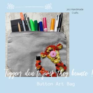 Disney Inspired Button Art Tigger Winnie the Pooh Bag |Handmade