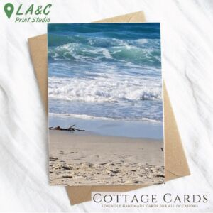 Greetings Card Waves On The Shore Cornwall beach