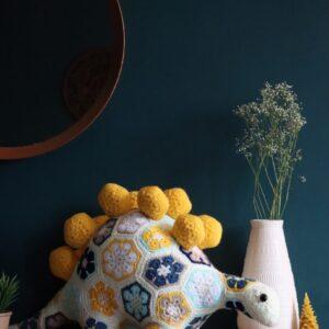 Large African Flowers Crochet Dinosaur Plushie Toy