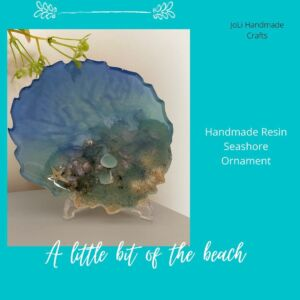 Handmade Resin Seaside Ornament | Sea Glass & Shells